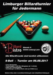 8Ball Jedermann Turnier am 06.08.2017